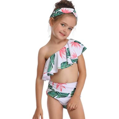 459a265650 Amazon.com: Little Girl Swimsuit, Toddler Kids Baby Leaf Print Ruffle Off  Shoulder Bathing Suit Swimwear Bikini Set (Green, Suit for: 3-4 Years):  Clothing