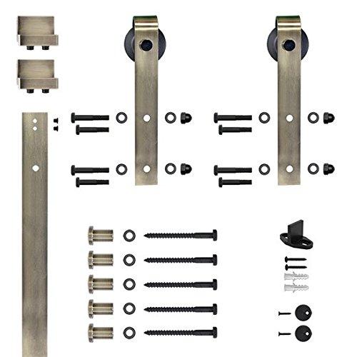 Designer's Collection Flat Rail Hook Strap Rolling Door Hardware Kit, Antique Brass