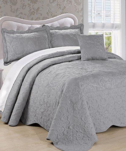 Serenta Damask 4 Piece Bedspread Set, Queen, Ash Gray (Ash Queen Size Bed)