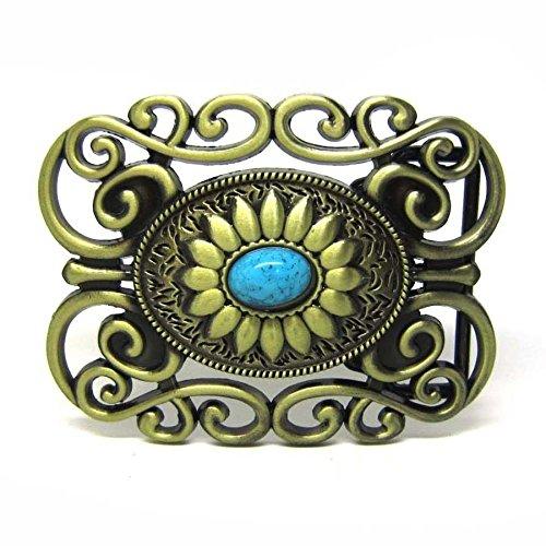 Silver Buckle Ranch (Celtic Lady Cowgirl Ranch Flower Floral Turquoise Belt Buckle Boucle De Ceinture)