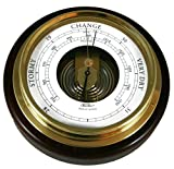 Ambient Weather 1434B-22 Fischer Mahogany Wood and Brass Marine Barometer, 6 1/2