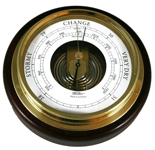 - Ambient Weather 1434B-22 Fischer Mahogany Wood and Brass Marine Barometer, 6 1/2