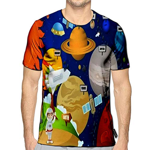 YILINGER T-Shirt 3D Printed Astronaut and Planet System Casual Teesb