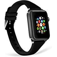 WISHTA Soft Silicone Sport Band Replacement Wristband Compatible with Apple Watch Series 3/2/1 (Black, 38mm)
