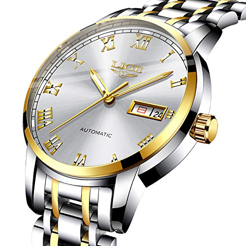 (Mens Watches Stainless Steel LIGE Mens Waterproof Date Analog Quartz Watch Gents Fashion Casual Dress Wrist Watch Gold White)