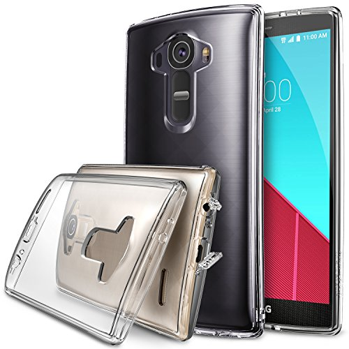 LG G4 Case, Ringke [Fusion] Crystal Clear PC Back TPU Bumper w/ Screen Protector [Drop Protection/Shock Absorption Technology][Attached Dust Cap] For LG G4 - Crystal - Jet Review Lenses