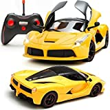 Tiny Mynee Ferrari Remote Control Car, Rechargeable Batteries ,Opening Doors (Yellow)