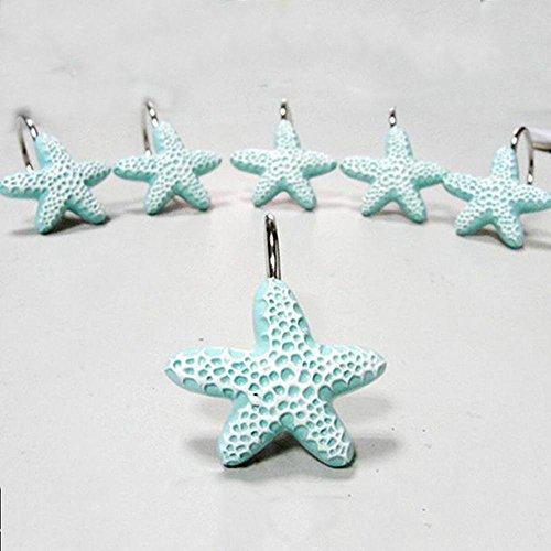 Alicemall-Blue-Decorative-Shower-Curtain-Hooks-Durable-Light-Blue-Starfish-12-Pieces-Resin-Nautical-Shower-Curtain-Hooks-Decorative-Accessories-for-Bathroom-Light-Blue