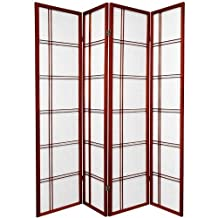Oriental Furniture Premium Quality, 6-Feet Double Cross Folding Shoji Privacy Floor Screen, 4 Panel Rosewood by Oriental Furniture