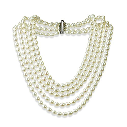 Sterling Silver Pearl Necklace with 5-rows Freshwater Cultured High Luster Pearl Jewelry For Women by La Regis Jewelry