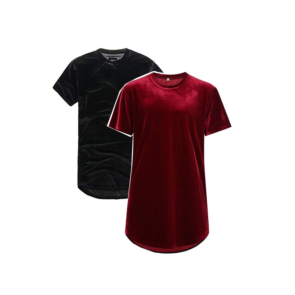VFIVE UNFOUR Mens Velvet Velour Hip Hop Swag Extended Long Line T Shirts