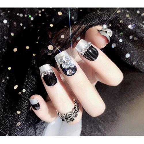 Dongcrystal 24Pcs Bling Nail Art Bridal False Nails Rhinestone Pear Decor Black Fake Nail -