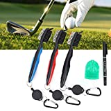 Youngneer Golf Cleaning Brush Club Groove Cleaner Tool with Retractable Clip 3 Pack + 1 Pack Golf Ball Line Liner Marker Template + 1 Pack Marker Pen for Drawing Marking