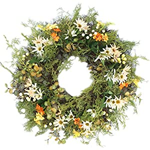MomokoPeng 16 Inches Blossom Fall Front Door Wreath - Lush and Beautiful Spring Wreath,Indoor/Outdoor Use (Grass Wreath) 89