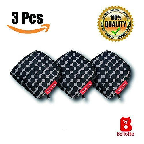 3 Pack Reusable Shopping Bags, Foldable Grocery Bag with Elegant Dotted Design, Recyclable Tote Bag for Travelling and Other Outdoor (Reusable Recyclable Tote Bag)