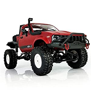E-SCENERY 1:16 WPL C14 Scale 2.4G 2CH 4WD RC Off-road Truck, High Speed Remote Control Semi-truck Short Course Racing Car With USB Rechargeable Battery (Red)