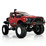 gas power rc - E-SCENERY 1:16 WPL C14 Scale 2.4G 2CH 4WD RC Off-road Truck, High Speed Remote Control Semi-truck Short Course Racing Car With USB Rechargeable Battery (Red)