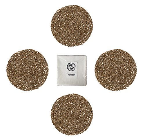 Room Ikea Dining (IKEA Ihallig Natural Handmade Seagrass Table Placemat And Cotton Napkin Bundle - For Dinner Table, Dining Room Set - Natural (8 Pieces - 4 Placemats and 4 Napkins))