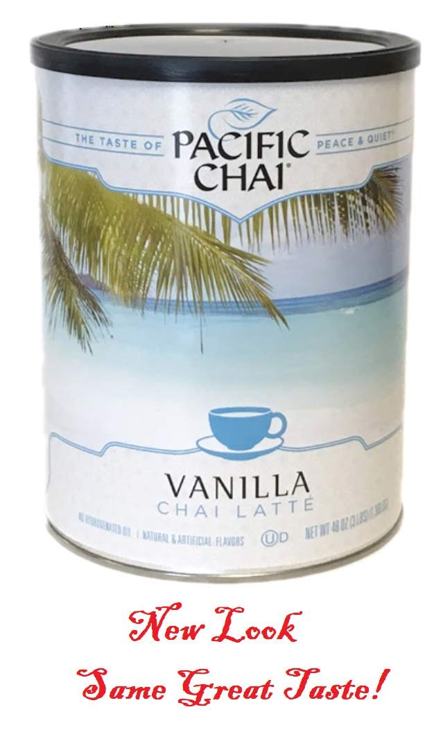 Pacific Chai Vanilla Instant Powdered Chai mix, 48oz canister (Pack of 6)