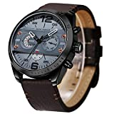 Mens Watch,Stone Casual Business Dress Sport Watch Analog Quartz Wrist Watch Leather Band(Brown)