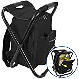 Outrav Black Backpack Cooler and Stool - Collapsible Folding Camping Chair and Insulated Cooler Bag with Zippered Front Pocket and Bottle Pocket - for Hiking, Beach and More