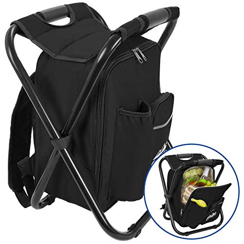 Outrav Black Backpack Cooler and Stool - Collapsible Folding Camping Chair and Insulated Cooler Bag with Zippered Front Pocket and Bottle Pocket - for Hiking, Beach and ()