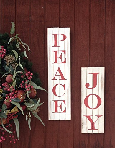 christmas wooden signs peace and joy - Christmas Wooden Signs
