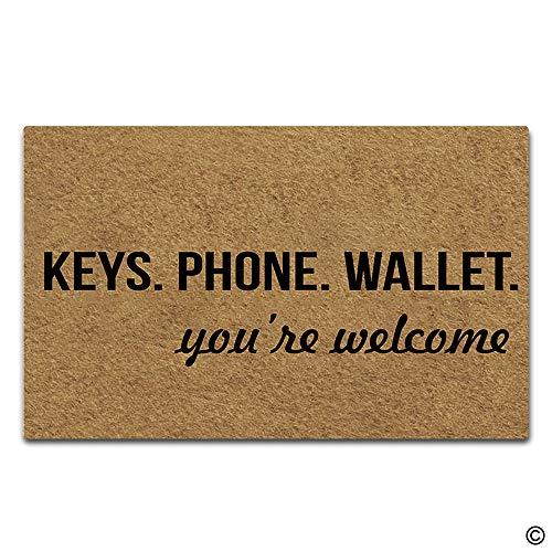 - Artswow Funny Door Mat Entrance Floor Mat Keys Phone Wallet You're Welcome Doormat Decorative Indoor Outdoor Doormat Enterways Non-Slip Rubber Backing Mat 18