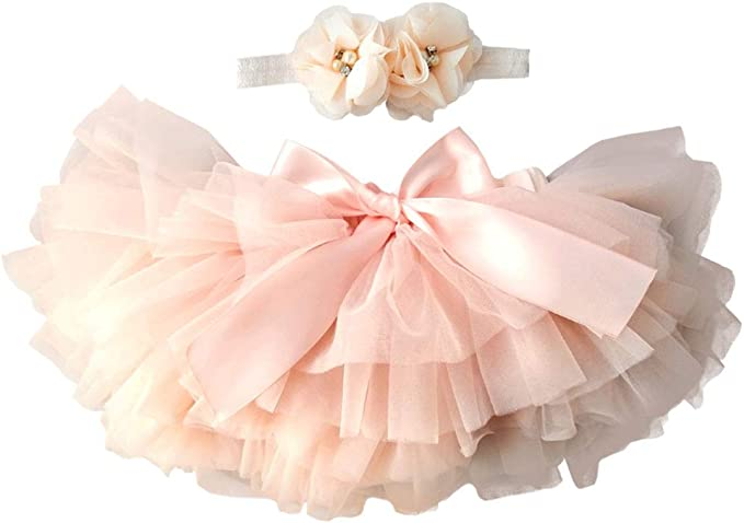YONKINY Baby M/ädchen Tutu Rock Prinzessin T/üllrock Minirock Baby Fotoprops Reifrock Ballettrock f/ür Fotografie Geburtstag Stirnband