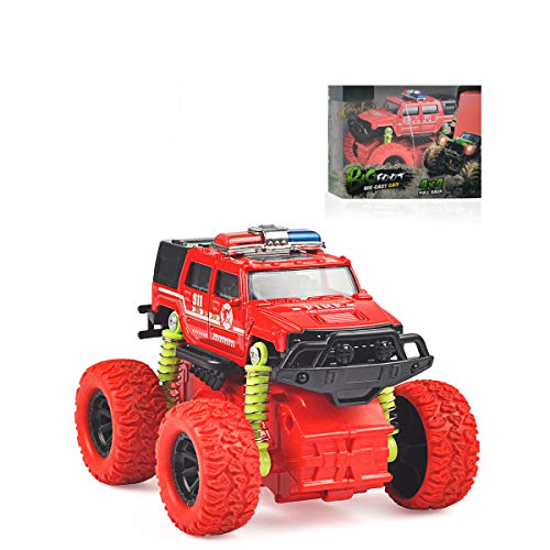 Baby Toys Toddler Police Car Toy Inertial Off-Road Vehicle Four-Wheel Drive Push and Go Simulation Alloy for 3 Year Old Boys Girls Kids Children Toddler Play Games Best Gift Red ()