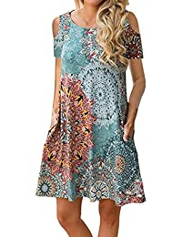 CAIYING Women Casual Cold Shoulder Floral Print Sundress T-Shirt Dress with Pockets