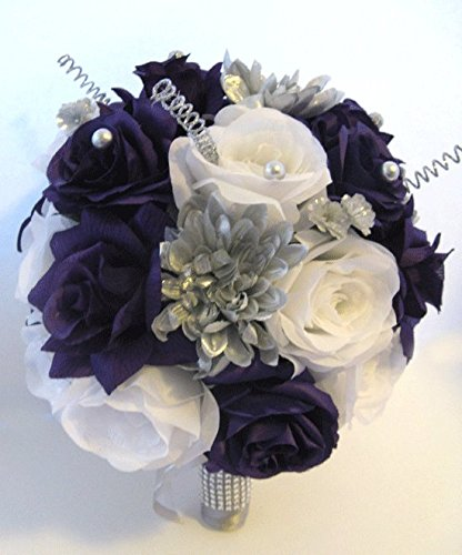 Wedding Silk Flowers Bridal Bouquet PURPLE Plum SILVER GRAY 17 Piece package Artificial centerpiece Decoration arrangements