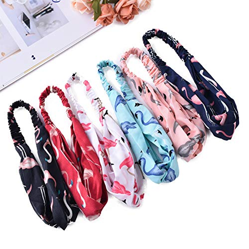Women Headband, Girls Headwraps Hairbands, Boho Headbands for Women, Bohemian Flamingo Style, Vintage Flamingo Printed Elastic Head Wrap Twisted Hair Accessories 3 Pack (3 Pack-01)