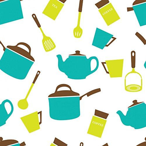 Crockery Kitchen (LAMINATED POSTER Kitchen Utensils Crockery Wallpaper Illustrations Poster Print 24x 36)