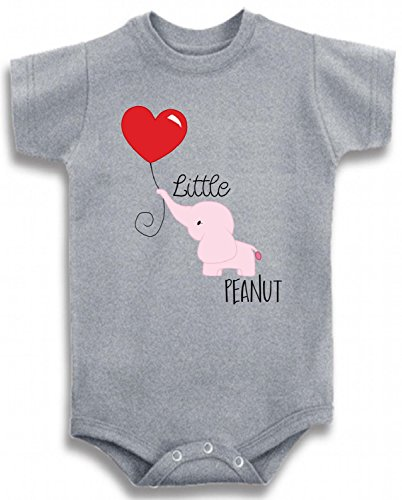 (Baby Tee Time Gray Crew Neck Girls' Little Peanut with Elephant One Piece 6-12 Months)
