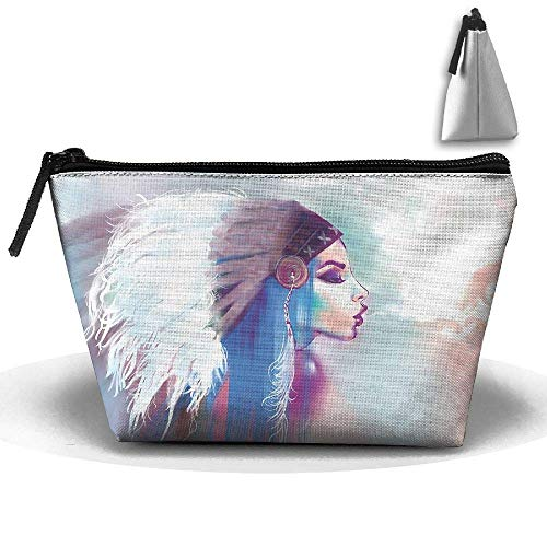 Native Indian Woman With Headdress Waterproof Trapezoidal Bag Cosmetic Bags Makeup Bag Large Travel Toiletry Pouch Portable Storage Pencil Holders -