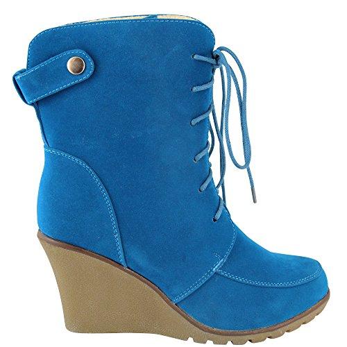 Unbekannt - Pantuflas de caña alta Mujer Azul - azul