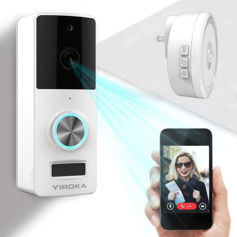 Wireless Video Doorbell, YIROKA Doorbell Camera, IP55 Waterproof HD 720P Security Camera Real-Time Video Work 3600 Hour Battery PIR Motion Detection 3000+ Video Storage, Night Light by YIROKA