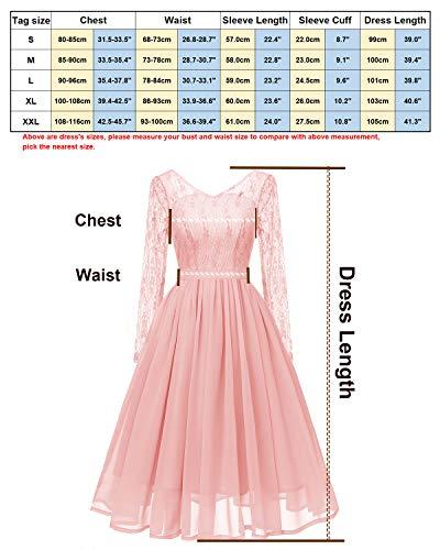 Para Vestido Midi Con Encaje Top Moda De Larga Mujer Manga Rosa Fiesta En Y Molly 7qwgUaRf