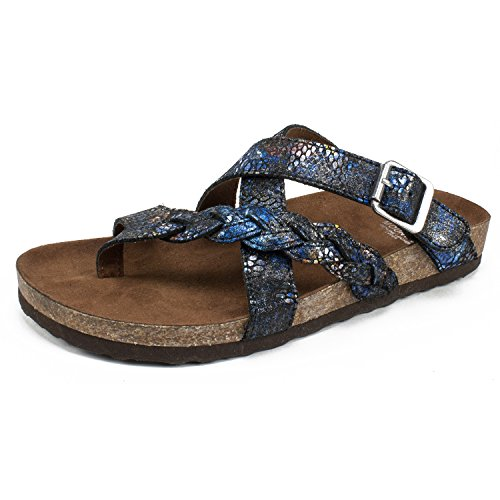 (WHITE MOUNTAIN Shoes Hansen Women's Sandal, Black & Blue/Suede, 6 M)