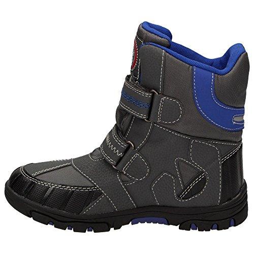 Canadians 467101 Jungen Winter-Stiefel Warmfutter Schnee-Boots Wasserabweisend Klettverschluss Schwarz Grün / Grau Blau, Schuhgröße:EUR 33;Farbe:Blau