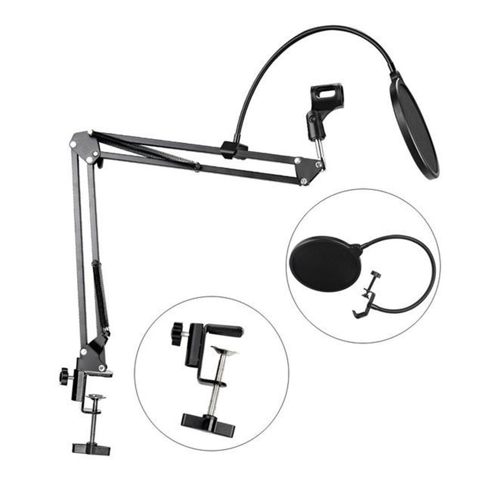 WINOMO Mikrofon-Suspendierungs-Boom Scissor Arm-Stand mit Mic-runde Form Wind-Pop-Filter-Masken-Schild (NB-35) mit Pop-Filter