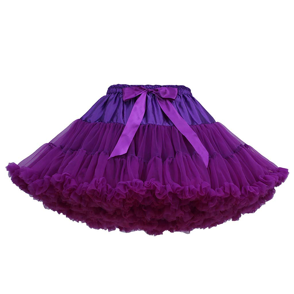 Women's Tulle Skirts A-Line Mini Skirts Fashion Sexy Solid Color Party Dance Ballet Bow Short Tutu Skirts (Free Size, B)