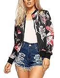 Ladies Floral Rose Printed Zip Up Bomber Jacket Womens Full Sleeve Coat Blazer#(Black Grey Floral Rose Printed Zip Up Bomber Jacket#US 6-8#Womens)