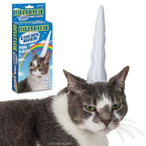 Cat Unicorn Costume ((USA Warehouse) Inflatable Unicorn Horn for Cats **ITEM#NO: 43E8E-UFE6 C2A200)