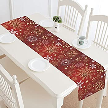 InterestPrint Gold White Snowflake Long Table Runner 16 X 72 Inches,  Christmas Rad Pattern Rectangle