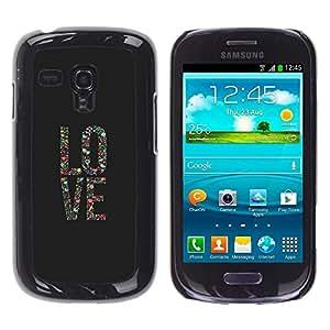 El amor del cartel del arte floral gris Vignette texto - Metal de aluminio y de plástico duro Caja del teléfono - Negro - Samsung Galaxy S3 MINI i8190 (NOT S3)