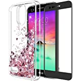 LG Stylo 3 Case, LG Stylo 3 Plus Case With Tempered Glass Screen Protector, Rosebono Quicksand Glitter Sparkly Bling Cute Liquid Shiny Luxury TPU Protective Cover for LG Stylo 3 (Pink)