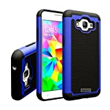 SimplyCase Blue Hybrid Rugged Rubber Matte Hard Case For Samsung Galaxy Grand Prime SM-G530W G530H with Free Screen Protector