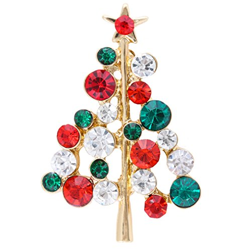 Hollycraft Jewelry Costumes (VK Accessories Full Rhineston Inlaid Green and Red Christmas Tree Brooch (Green and Red))